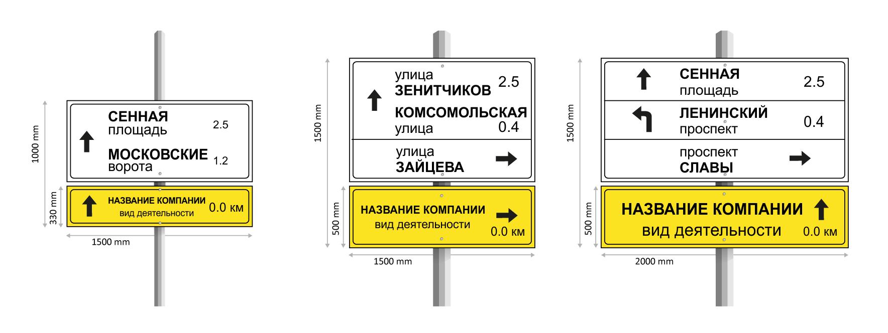 изготовление рекламных дорожных указателей